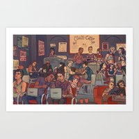 cargline Art Prints featuring Clint's Coffee by cargline
