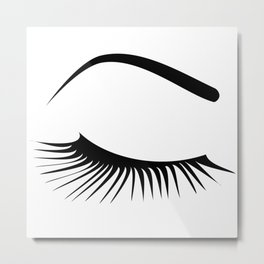 Closed Eyelashes Right Eye Metal Print