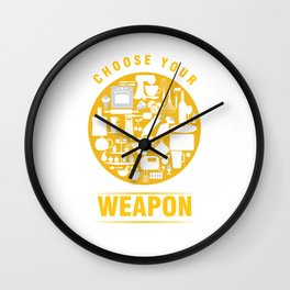 Baker Baking Bakery Pastry Chef Patissier Bakers Choose Your Weapon Gift Wall Clock
