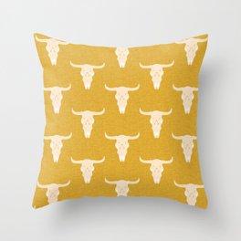 Skull Yellow Throw Pillow