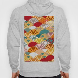 Nature background with japanese sakura flower, orange red pink Cherry, wave circle pattern Hoody