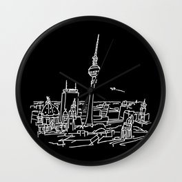 Panorama of Berlin with TV-tower Wall Clock
