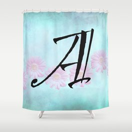 Pink Gerbera Daisy Initial Design Shower Curtain
