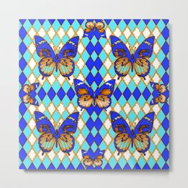 ARGYLE ABSTRACTED  BROWN SPICE  MONARCHS BUTTERFLY & BLUE-WHITE Metal Print