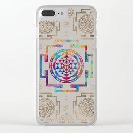 Sri Yantra  / Sri Chakra in color on canvas Clear iPhone Case