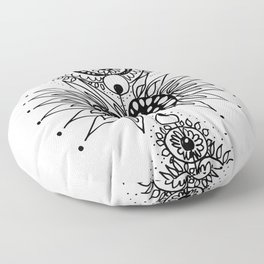 Abstract Black and White Organic Flowery Doodle Floor Pillow