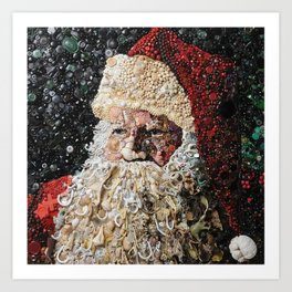 Santa Made from Shells- Buttons- Beads Art Print
