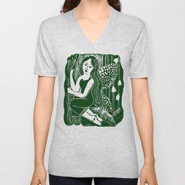 Forest Fairy Printmaking Art Unisex V-Neck