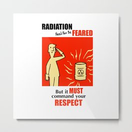 A poster about radiation in the style of Fallout 76 Metal Print