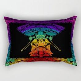 Multi Coloured Patterned Elephant Rectangular Pillow