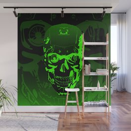 Gamer Skull CARTOON GREEN / 3D render of cyborg head Wall Mural