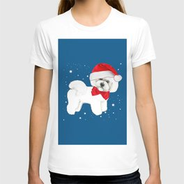Bichon Frise red christmas holiday themed pattern print pet friendly dog breed gifts T-shirt