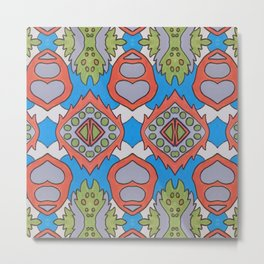 Wilma - Symmetrical Abstract Art in Blue, Orange and Green Metal Print
