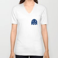 pac man V-neck T-shirts featuring Pac-Man Blue Ghost by Psocy Shop