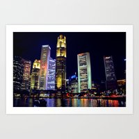singapore Art Prints featuring Singapore Skyline by Mark Bagshaw Photography
