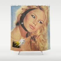 spaceman Shower Curtains featuring Spaceman by Greta Bungle