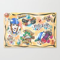 roller derby Canvas Prints featuring Roller Derby Flash Sheet by hill & dale handmade illustration