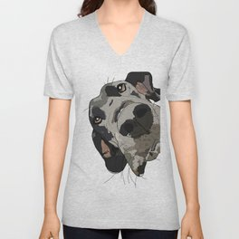 Great Dane dog in your face Unisex V-Neck