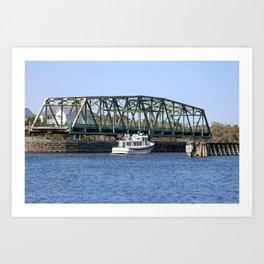 Swing Bridge And Boat Art Print
