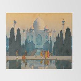 Morning Mist in Taj Mahal Vintage Beautiful Japanese Woodblock Print Hiroshi Yoshida Throw Blanket