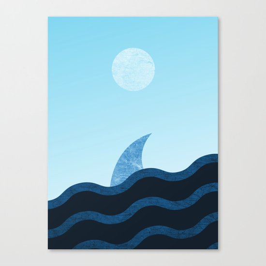 Morning Shark in Sea Waves Canvas Print