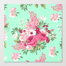 Cottage Chic Roses and Lilacs Floral in Aqua and Pink Canvas Print