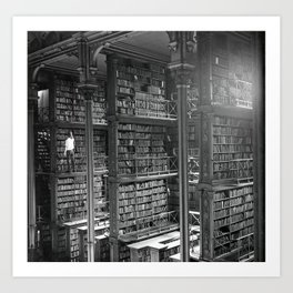 A Book Lover's Dream - Cast-iron Book Alcoves of Leather bound books Old Cincinnati Public Library Art Print