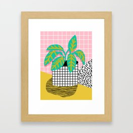 Get Real - potted plant throwback retro neon 1980s style art print minimal abstract grid lines shape Framed Art Print