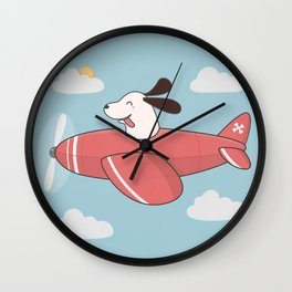 Kawaii Cute Dog Flying Airplane Wall Clock