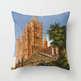 vintage Palermo Sicily Italian travel ad Throw Pillow