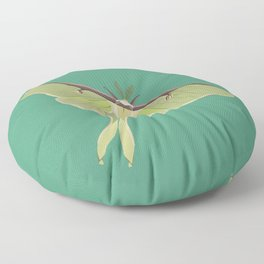 Luna Moth Drawing on Turquoise Background Floor Pillow