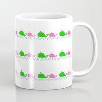 preppy Mugs featuring Preppy MaMa Whale by Jozane House