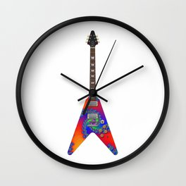 Guitar With Fractal Graphics Wall Clock