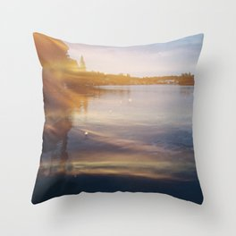 Leaking sunshine across the lake Throw Pillow