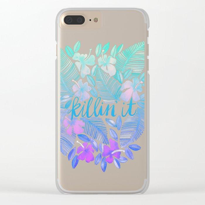 Killin' It – Turquoise + Lavender Ombré Clear iPhone Case