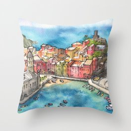 Cinque Terre ink & watercolor illustration Throw Pillow