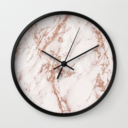 Elegant ivory gray rose gold glitter marble pattern Wall Clock