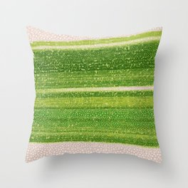 Leafs Stripes. green, white, stripes, nature, macro, leaf, leaves, decor, art, Society6. Throw Pillow
