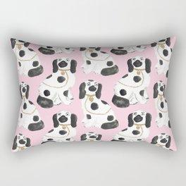 Staffordshire Dog Figurines No. 2 in Light Bubblegum Pink Rectangular Pillow