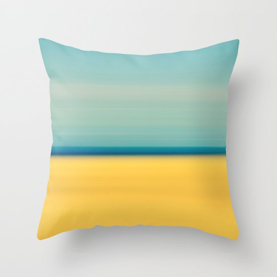 Yellow Sand Blue Sky Abstract Beach Photography Throw Pillow by Klgphoto Society6