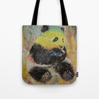 rasta Tote Bags featuring Rasta Panda by Michael Creese