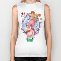 princess peach Biker Tanks featuring Princess Peach Super Mario by Carlations: Carla Wyzgala illustrations