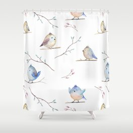 Hand drawing watercolor  bird with leaves, branches and feathers. Watercolour art Shower Curtain