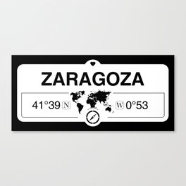 Zaragoza Aragon with World Map GPS Coordinates and Compass Canvas Print