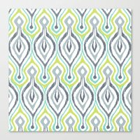 ikat Canvas Prints featuring Sketchy IKAT by Patty Sloniger