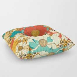 Red, Orange, Turquoise & Brown Retro Floral Pattern Floor Pillow