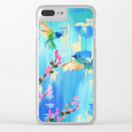 Aqua and pink Clear iPhone Case