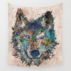 floral animals wolf Wall Tapestry
