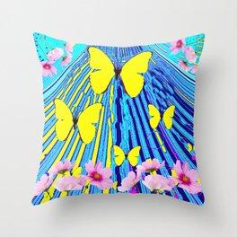 MODERN ART YELLOW BUTTERFLIES PINK FLOWERS BLUE PATTERN Throw Pillow