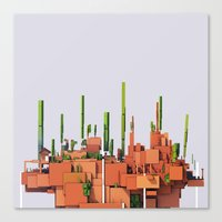 low poly Canvas Prints featuring Low Poly Desert Hideout by adventuresof